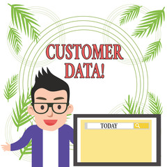 Conceptual hand writing showing Customer Data. Concept meaning all records and information pertaining to any customer