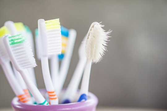 old and destroy toothbrush closeup