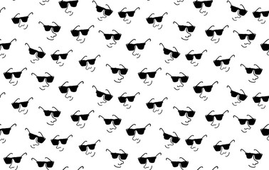 Funny characters faces with expressions in sunglasses seamless pattern, Hand drawn vector illustration, in black and white colors, summer style, web, wallpaper, textile and wrapping paper design Wall mural