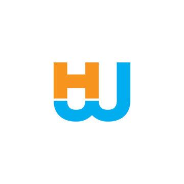 letter hw simple geometric line logo vector