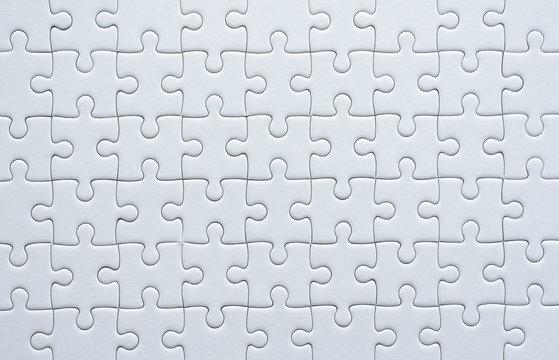 Puzzle pieces grid,Jigsaw puzzle white colour,Success mosaic solution template,Horizontal