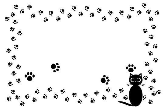 背景イラスト,猫の足跡,肉球,可愛い,ペットショップ,宣伝広告,フリー素材,フレーム,コピースペース