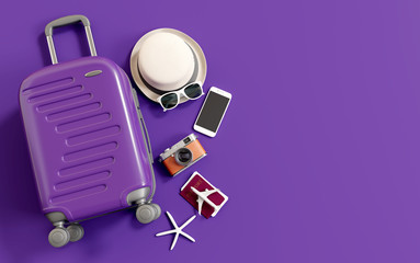 Wall Mural - Flat lay purple suitcase with traveler accessories on purple background. travel concept. 3d rendering