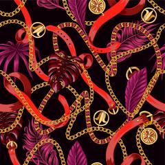 Modèle sans couture à la mode avec des chaînes et des feuilles tropicales.