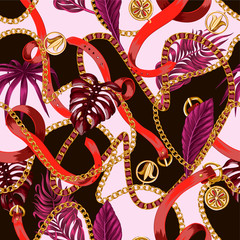 Trendy seamless pattern with chains and tropical leaves.