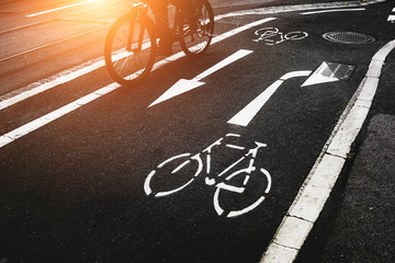 Bicycle Lane on cement road in city