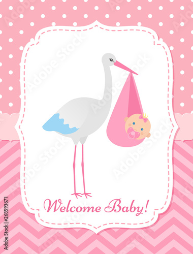 Baby Shower Invitation Card Vector Baby Girl Banner