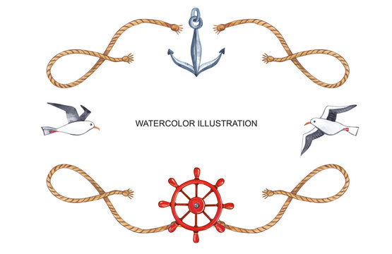 Watercolor illustration. Frame on the marine theme with gulls, ropes, anchor and steering.