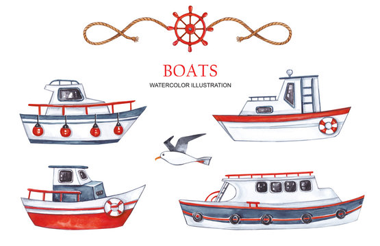 Large set of boats on a white background. Watercolor illustration.