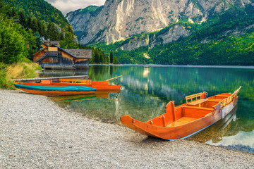 Wall Mural - Popular holiday and recreational place with boats, Altaussee lake, Austria