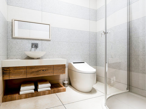Modern bathroom in the home with smart toilet and shower, as well as sink and mirror