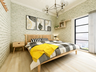 The modern minimalist style bedroom feels very warm