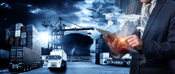 World map with logistic network distribution on background. Logistic and transport concept in front Logistics Industrial Container Cargo freight ship for Concept of fast or instant shipping Online