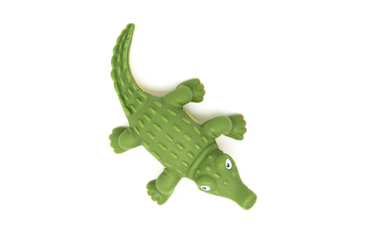Plastic toy crocodile top view