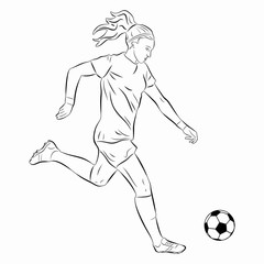 illustration of woman soccer player, vector draw
