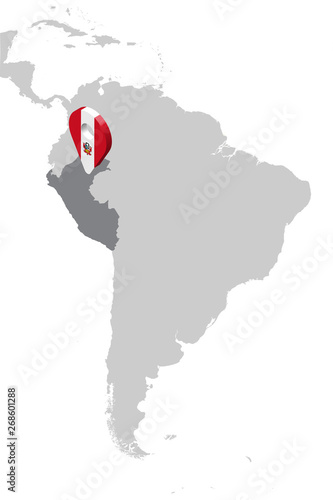 Map Of America 3d Vector.Peru Location Map On Map South America 3d Peru Flag Map Marker