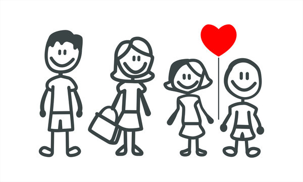 Set of happy cartoon doodle figure family, stick man. Stickman Illustration Featuring a Mother and Father and Kids. Vector Illustration, set of family in stick figures. Hand Drawn