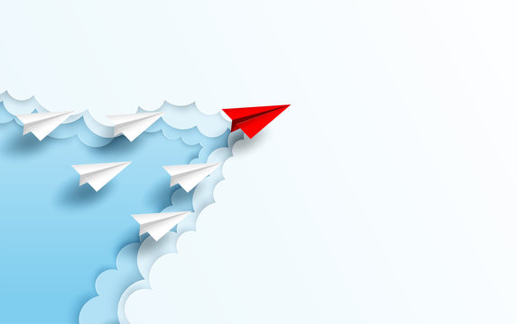Business  leadership ,financial concept. Red paper plane leadership  to sky go to success goal. paper art style. creative idea. vector ,illustration.