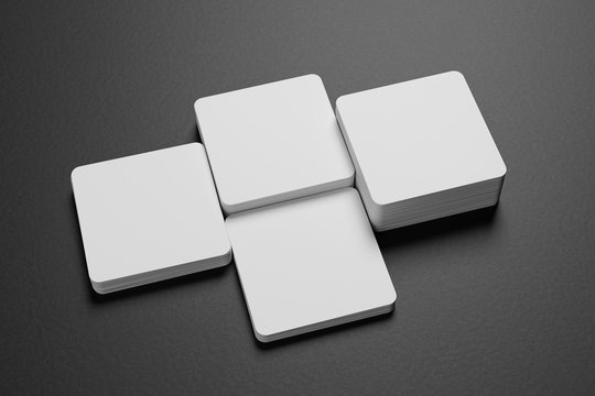 3D render Mock-up of square business cards are on a black paper