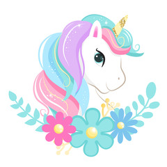 Estores personalizados infantiles con tu foto Cute magic cartoon unicorn head with flowers. Illustration for children
