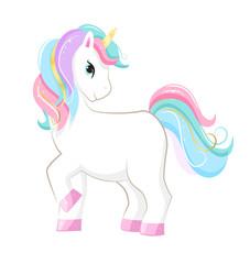 Cute magic cartoon unicorn. Illustration for children