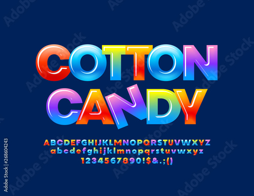 Vector colorful logo Cotton Candy with glossy Alphabet