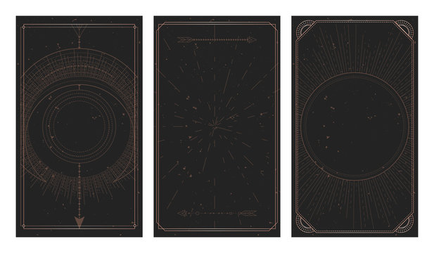 Vector set of three dark backgrounds with geometric symbols, grunge textures and frames. Abstract geometric symbols and sacred mystic signs drawn in lines.