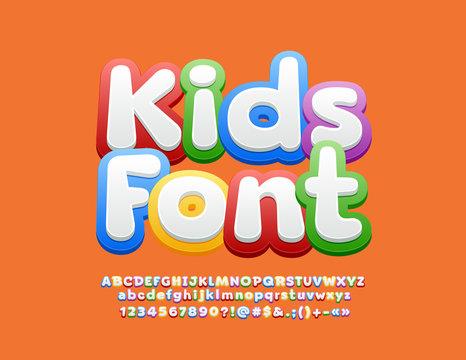 Vector Kids Font. Children Alphabet Letters, Numbers and Symbols