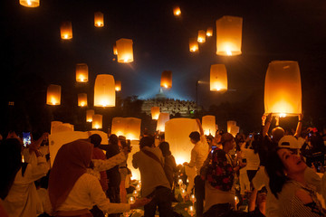 Visitors release paper lanterns during ceremony on Vesak Day at the Borobudur temple in Magelang, Central Java province