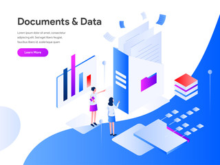 Documents and Data Isometric Illustration Concept. Modern flat design concept of web page design for website and mobile website.Vector illustration EPS 10 Wall mural