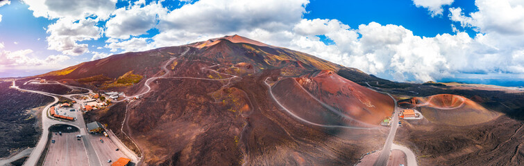Canvas Prints Cappuccino Mountain volcano Etna Sicily, Italy. Panoramic aerial photo