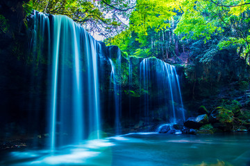 Printed roller blinds Waterfalls Nabegatai, waterfall in forest, Kumamoto Japan