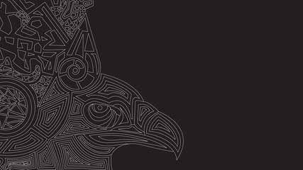 Black background with ethnic pattern and eagle