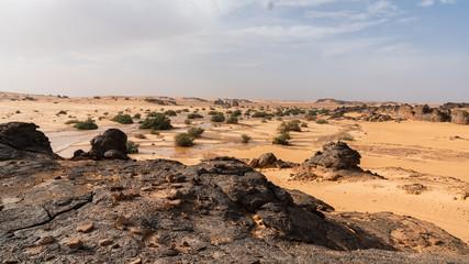 volcanic landscape in the sahara desert
