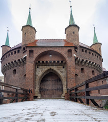 Panoramic view of the Krakow Barbican a fortified outpost - is a historic gateway leading into the Old Town of Krakow, Poland