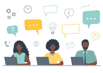 Office workers are working on laptops. Business concept with icons. Black man and black women are sitting at the table on a white background. Teamwork. Funky flat style. Vector illustration