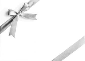 Silver white grey ribbon bow corner stripe fabric isolated on white background with clipping path