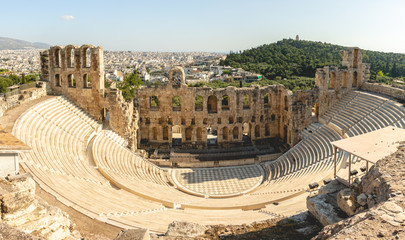 Panorama of Theatre of Herodes Atticus on Acropols, Athens, Greece