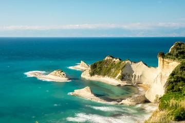 Scenic view of Cape Drastis cliffs, Corfu, Greece