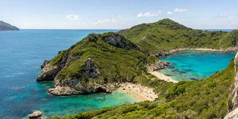 View of picturesque Afionas beach (Porto Timoni), Corfu, Greece