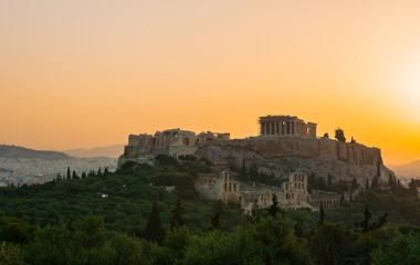 Acropolis of Athens with the Parthenon temple during the sunrise