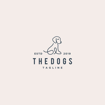 dog monoline concept vector logo design