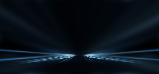 Fotomurales - Dark empty abstract scene, rays of searchlights, neon blue light, highlights and lights. Night view of the scene, a tunnel with illumination. Dark background with spotlights.