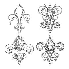 Vector Monochrome Set of Fleur-De-Lis. Beautiful Elements. Decorative Isolated Illustration For Design