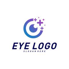 Eyes with Icons Health logo Design concept Vector. Health eye logo Template. Icon symbol.