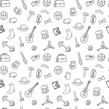 Fathers Day holiday seamless pattern in doodle style for coloring book. Men's lifestyle, sports equipment, clothes and accessories.