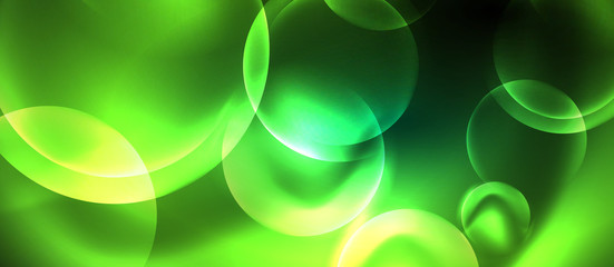 Neon glowing circles vector abstract background