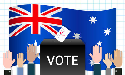 Australian election vector illustration. Ballot box with hands up voting on national flag background.