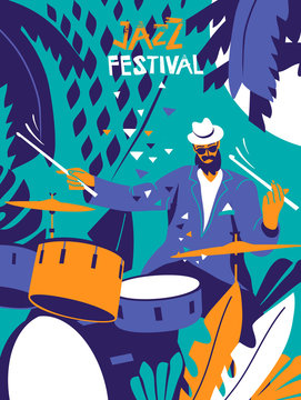Jazz festival poster. Drums player with summer hat and sunglasses on floral background. Modern minimal flat colors illustration.