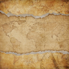 Wall Mural - Vintage torn world map